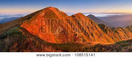 Mountain panorama. Beautiful morning sunlight. Autumn landscape. Marmarosh, Carpathians, Ukriana Europe
