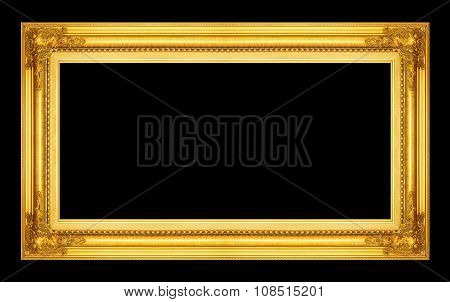 Antique Picture Golden Frame Isolated On Black Background, Clipping Path