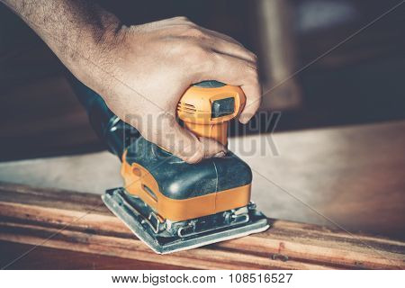male carpenter at work close up