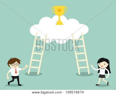 Businessman and business woman going to climb the ladders for get a golden winner cup.