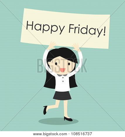 Business concept, business woman feeling happy and holding 'Happy Friday' banner. Vector illustratio
