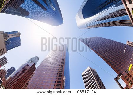 View of skyscrapers on sky in downtown, LA, USA