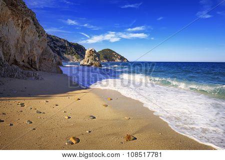 Elba Island, Portoferraio Sansone Sorgente Beach Coast. Tuscany, Italy.