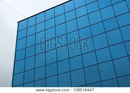 blue square glass building facade