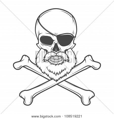 Pirate skull with beard, eye patch and crossed bones vector. Edward Teach portrait. Corsair logo tem