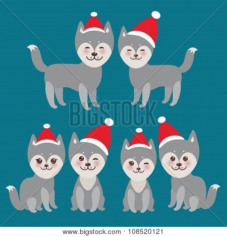 New Year And Christmas Funny Gray Husky Dog In The Red Hat, Kawaii Face With Large Eyes And Pi