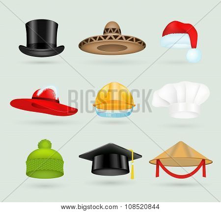 Set of 3d top hats different proffesions