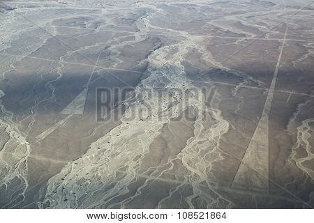 Aerial View Of Nazca Lines - Triangle Legeoglyphs In Peru.