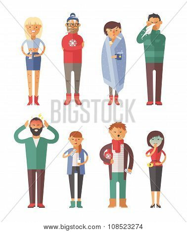 People ill vector illustration. Seasonal virus attack