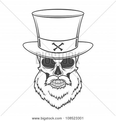 Steampunk Head hunter skull with beard and high hat vector. Old man rover logo template. Bearded ske