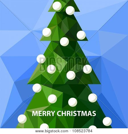 Background with low poly christmas tree