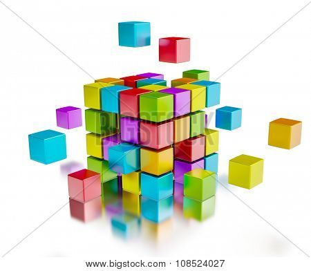 Business team teamwork collaboration concept - colorful color cubes assembling into  cubic structure isolated on white with reflection