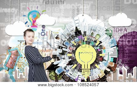 Cute kid girl of school age and creativity concept