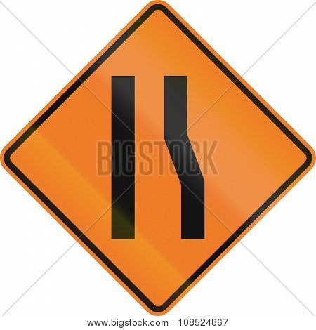 New Zealand Road Sign - Road Narrows On Right