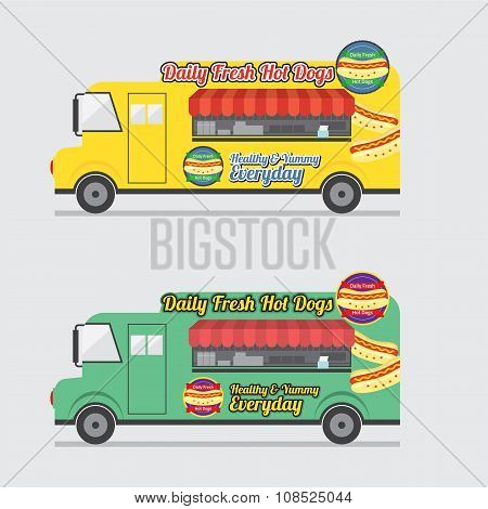 Side View Colorful Food Truck.