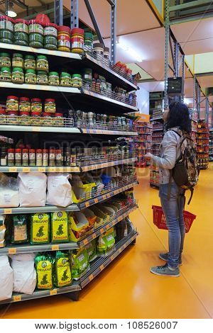 Bar, Montenegro, November, 3, 15: Interior of supermarket in Bar, Montenegro