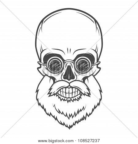 Evil Bearded Jolly Roger with glasses logo template. Old biker t-shirt design. Rock and roll insigni