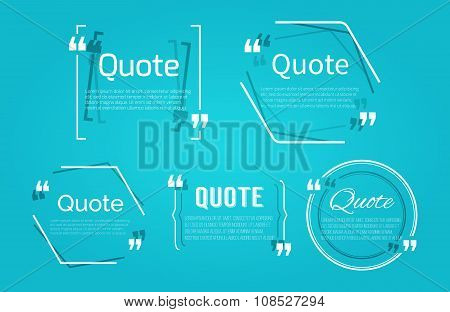 Set Of Quote Blanks With Text Bubble With Commas. Vector Template For Note,message, Comment. Dialog