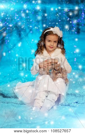 Christmas child girl on winter tree background, snow, snowflakes border. Happy holidays, new year 2016. Merry Christmas.