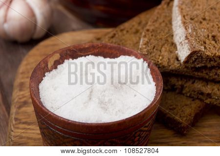 Large Food Salt In Wooden Container