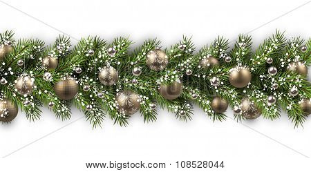 White card with fir branch and balls. Vector illustration.