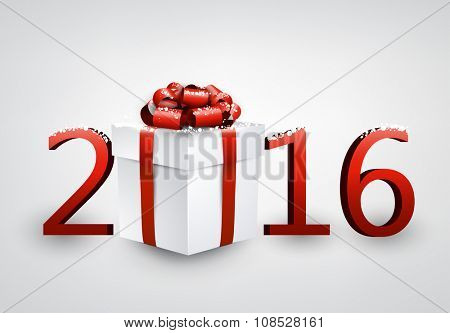 2016 New Year card with gift. Vector paper illustration.