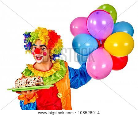 Happy birthday clown holding cake and  bunch of colorful balloons.  Isolated.