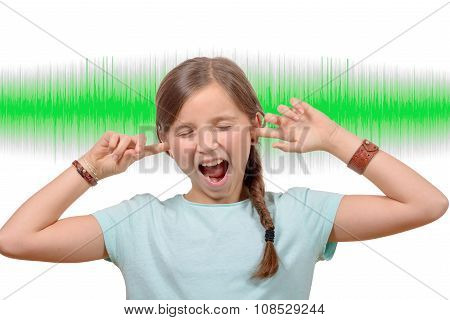 A Girl Covers His Ears, Sound Wave  On Background