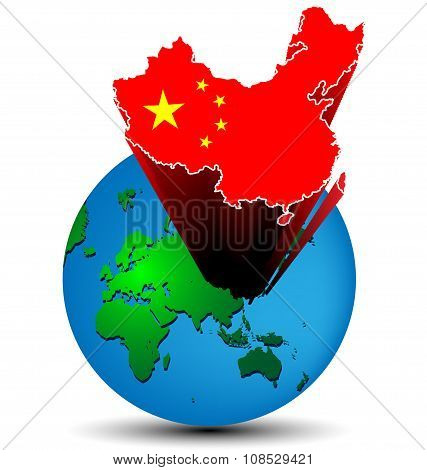 Flag China Map On The Earth