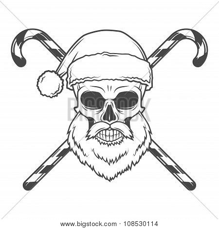 Bad Santa Claus biker with candies poster. Heavy metal Christmas portrait. Rock and roll new year t-