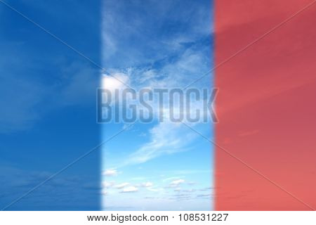 Beautiful Summer Clouds In The Blue Sky  With Flag Of France For