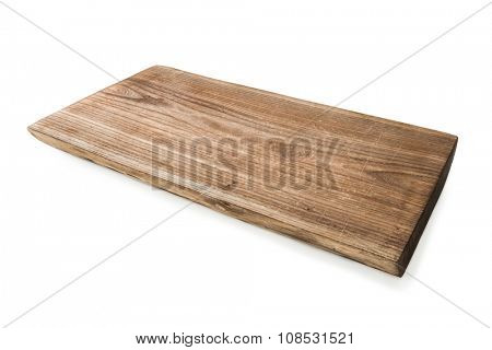 simple wooden cutting board isolated on white background