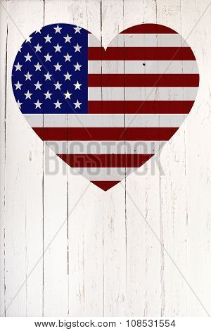 U.s Flag In Heart Shape On A White Wooden Board