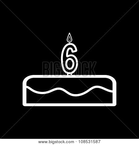 Cake with candles in the form of number 6 icon