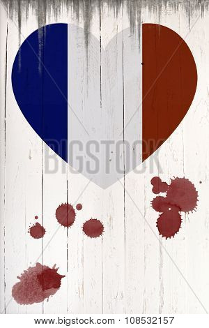 French Flag In Heart Shape On A  Old White Wooden Board