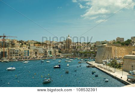 The big harbor of the city Valetta, Malta with modern yachts