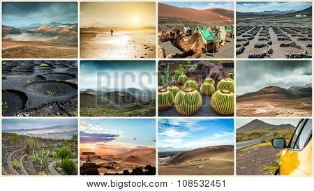 Photo collage of landscapes from island Lanzarote, Spain