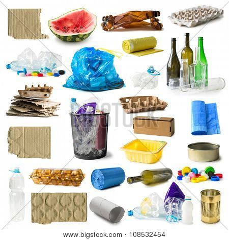 set of different types of trash isolated on white background