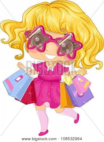 Illustration of a Little Girl Going on a Shopping Spree
