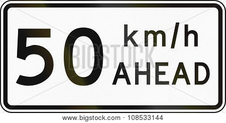 New Zealand Road Sign - Road Works Speed Limit Ahead, 50 Kmh