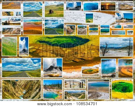 Yellowstone Glory Pool Collage