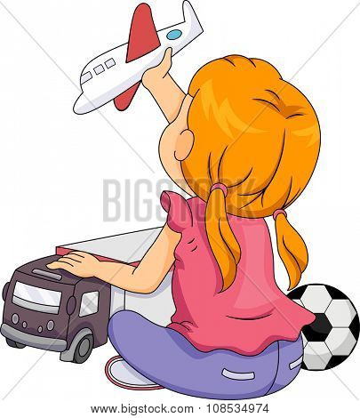 Illustration of a Little Girl Playing with Toys Associated with Boys