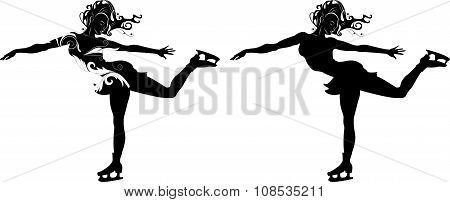 Stylized Silhouette Of A Girl On Skates