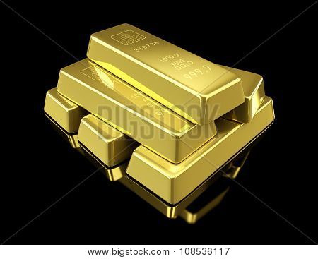Gold Bullion On Black Background