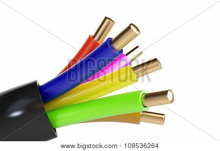 Electrical Cable. 3D Illustrations On A White Background
