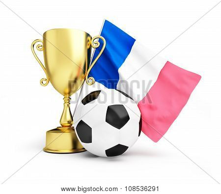 France Football 2016, Gold Trophy Cup And Flag Of France