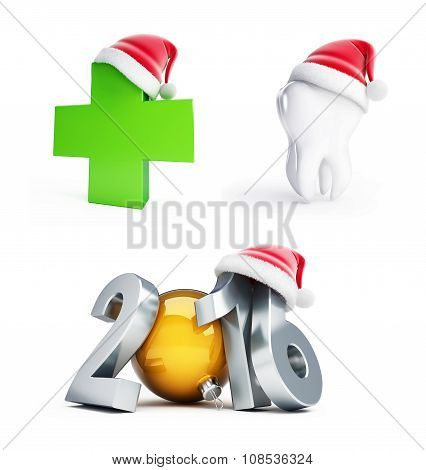 Happy New Year 2016 Santa Hat 3D Illustrations On A White Backgr