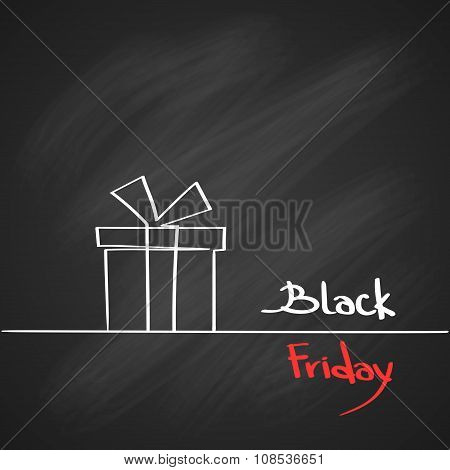 Gift Box Present Black Friday Sale Red Tag Cover Outline Design