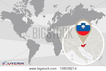 World Map With Magnified Slovenia