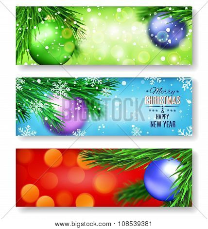 Set of three banners with Christmas and New Year pattern.